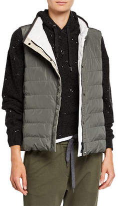 Brunello Cucinelli Monili-Beaded Quilted Puffer Vest