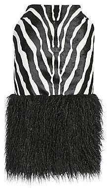 Saint Laurent Women's Zebra-Print Calf Hair Fur-Trimmed Midi Skirt