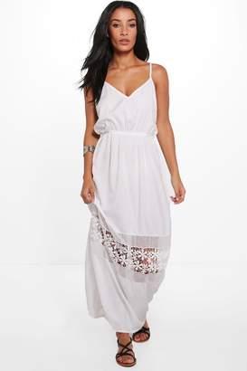 boohoo Sally V Neck Crochet Trim Maxi Dress