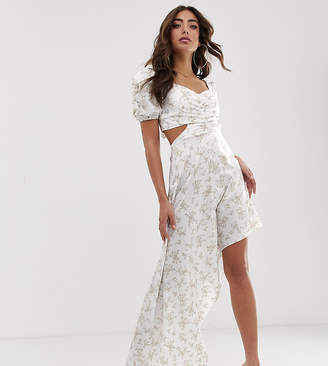 House Of Stars House of Stars maxi dress with puff shoulder and high low hem in ditsy floral