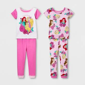 Disney Princess Toddler Girls' Disney Princess 4pc Pajama Set - Pink