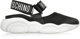 Moschino Black Stretch Satin Teddy Run Sandals