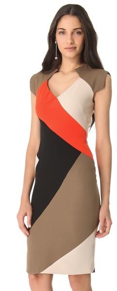 Lela Rose Colorblock V Neck Dress