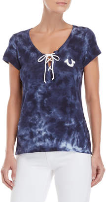 True Religion Tie-Dye Lace-Up Tee