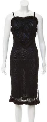 Adam Jones Fur-Trimmed Midi Dress