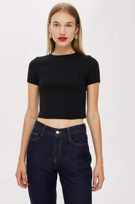Topshop Womens Short Sleeve Scallop T-Shirt