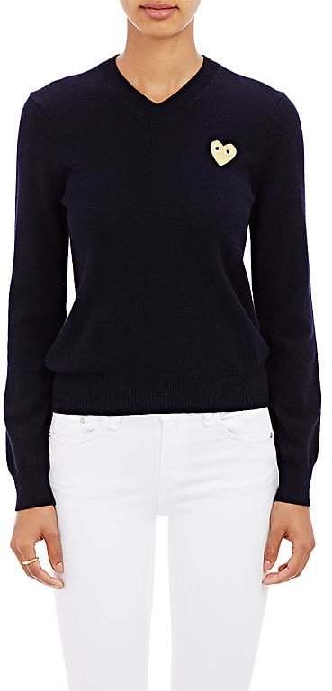Comme des Garçons PLAY Women's Playful Heart V-Neck Sweater-NAVY