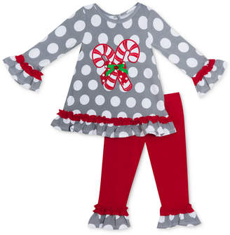 Rare Editions Baby Girls 2-Pc. Candy Cane Top & Leggings Set