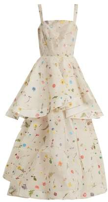 Rosie Assoulin Double Entendre Silk Organza Gown - Womens - White Multi