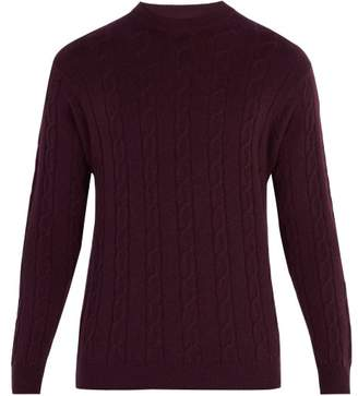 Connolly - Crew Neck Cable Knit Cashmere Sweater - Mens - Burgundy