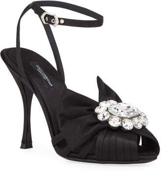 Dolce & Gabbana Jeweled Satin Ankle-Wrap Sandals