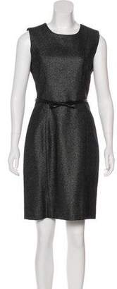 Milly Bow-Belt Wool Sheath Dress