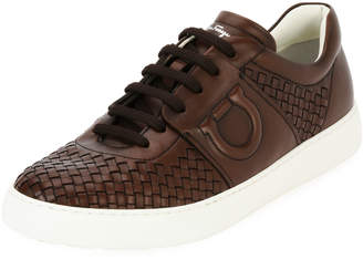 Salvatore Ferragamo Men's Woven Leather Low-Top Sneakers, Medium Brown