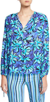 Michael Kors Painted Daisy Crushed Georgette Long-Sleeve Tunic Blouse