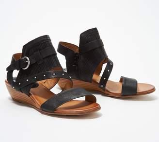 Miz Mooz Leather Buckle Demi-Wedge Sandals - Farley