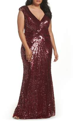 Mac Duggal Sequin Plunging V-Neck Gown