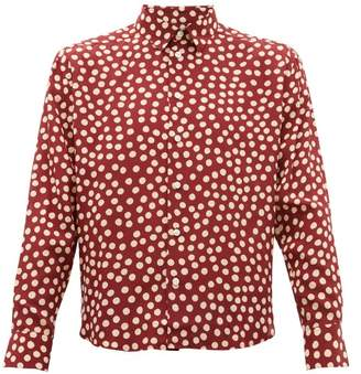 Saint Laurent Polka Dot Silk Shirt - Mens - Burgundy Multi