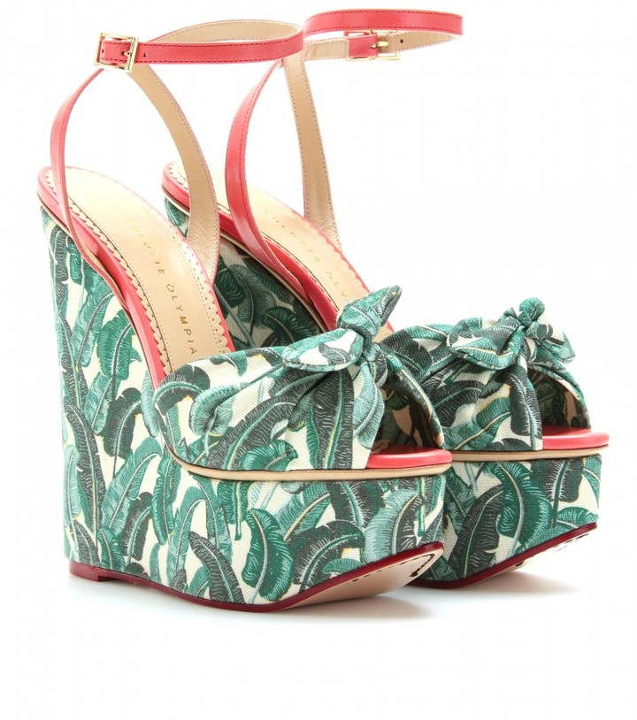 Charlotte Olympia MEREDITH PRINTED CANVAS PLATFORM WEDGES