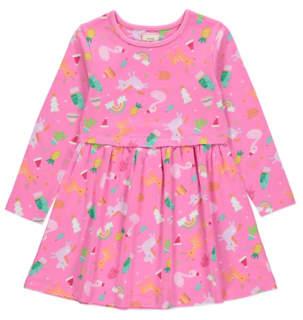 George Pink Printed Long Sleeve Christmas Dress