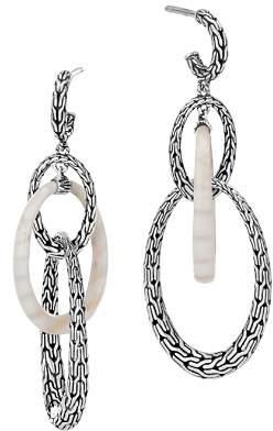 John Hardy Sterling Silver Classic Chain White Agate Oval Link Drop Earrings