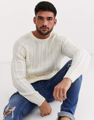 New Look cable knit crew neck jumper in ecru