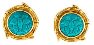 Stephen Dweck 18K Carved Turquoise Clip-On Earrings