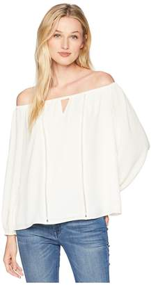 CeCe 3/4 Sleeve Off the Shoulder Blouse with Faggoting Women's Blouse