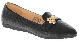 Victoria K Women's Squared Textured Rhinestone Embellishments Ballerina Flats