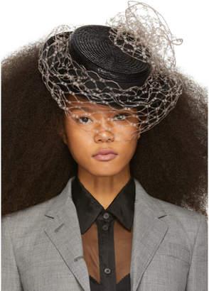 Marc Jacobs Black Stephen Jones Edition Veil Millinery Boater Hat