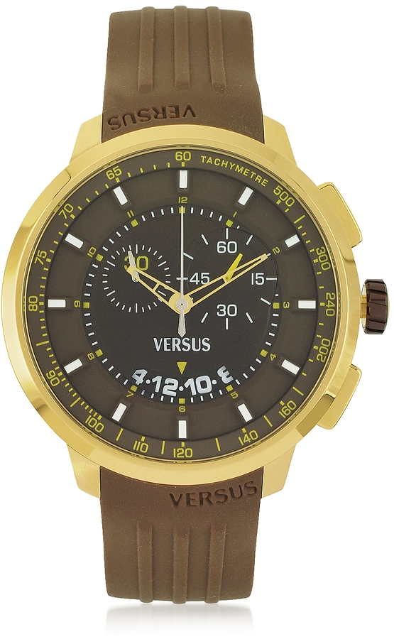 versace watches jewellery for men shopstyle versace versus manhattan men s chronograph watch w brown rubber strap