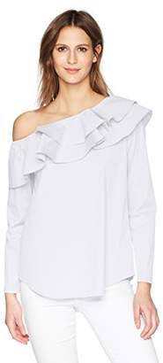 Calvin Klein Women's Long Sleeve One Shoulder Ruffle Blouse