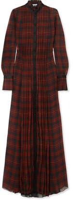 Philosophy di Lorenzo Serafini Satin-trimmed Pleated Tartan Chiffon Maxi Dress - Black