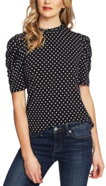 CeCe Ruched Polka-Dot Top