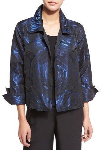 Caroline RoseCaroline Rose Night Blooms Jacquard Gala Jacket, Sapphire/Black, Plus Size