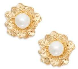 Kenneth Jay Lane Faux Pearl Flower Clip-On Earrings