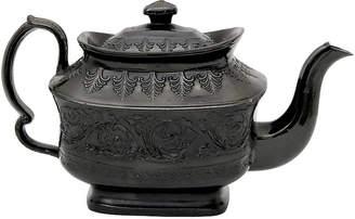 One Kings Lane Vintage 1830s English Black Basalt Teapot - Rose Victoria