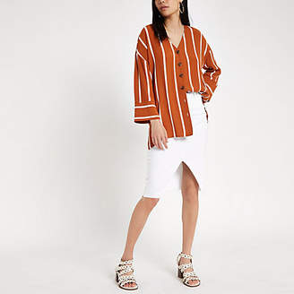 River Island Womens Brown stripe button front bar back blouse