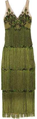 Marchesa Notte - Embellished Fringed Tulle Gown - Green $1,610 thestylecure.com