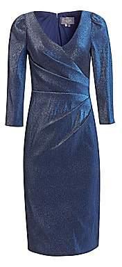Theia Women's Stretch Lamé V-Neck Dress