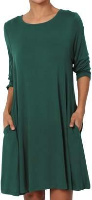 Hunter TheMogan Women's Short Sleeve Trapeze Knit Pocket T-Shirt Dress L