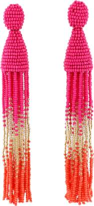 Oscar de la Renta Ombre Beaded Tassel Earrings