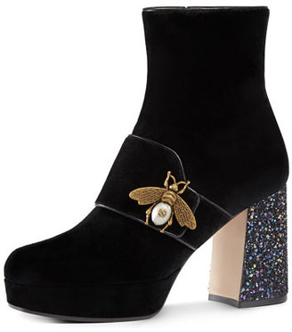 Gucci Soko Glitter-Heel Bee Boot, Black $1,290 thestylecure.com