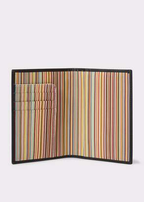 Paul Smith Black Leather Signature Stripe Interior Passport Cover
