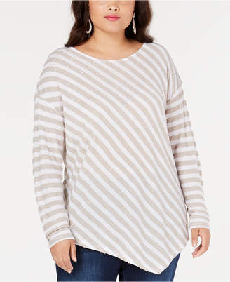 INC International Concepts I.n.c. Plus Size Striped Sequined Asymmetrical Top