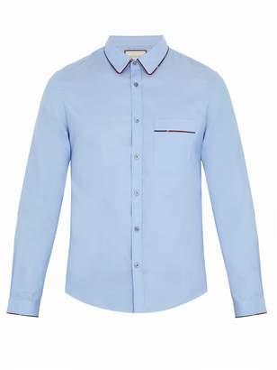 Gucci Duke Web-piping cotton shirt