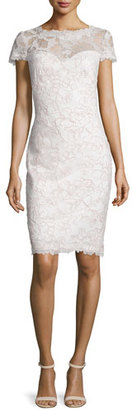 Tadashi Shoji Short-Sleeve Lace Cocktail Dress, Antique Pink/Ivory $408 thestylecure.com