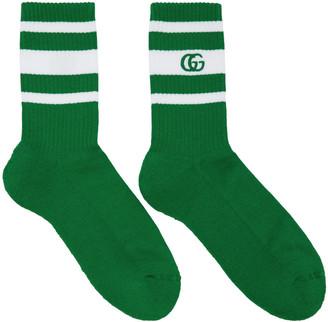 Gucci Green & White Logo Running Socks $105 thestylecure.com