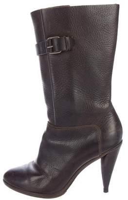 Balenciaga Buckle-Accented Mid-Calf Boots
