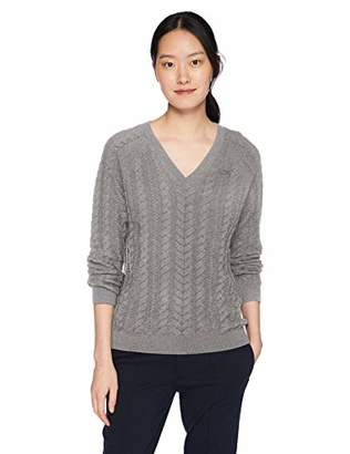 e301d5eb710 Lacoste Women's Long Sleeve Wool Cable Knit V-Neck Sweater