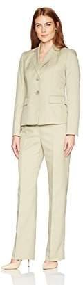 Le Suit Women's Melange Crepe Two Button Pant Suit